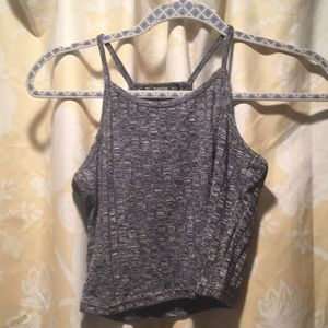 Gray knit crop top